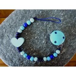 """Geschenkset: Nuggikette blau mit Mini-Karte """"Du bist geliebt"""" und Geschenksverpackung"""