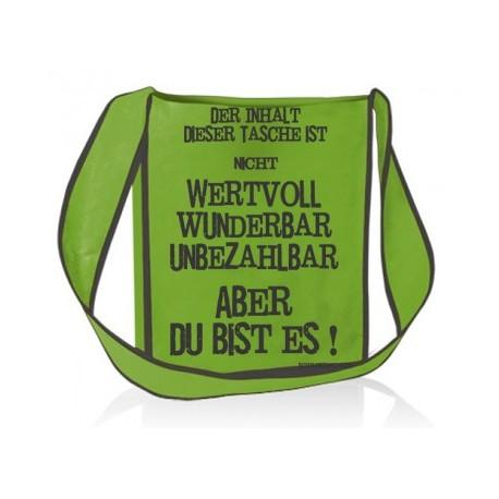 """Umhängetasche """"Du bist wertvoll"""" -  Farbe grün"""