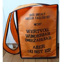 """Umhängetasche """"Du bist wertvoll"""" - Farbe orange"""