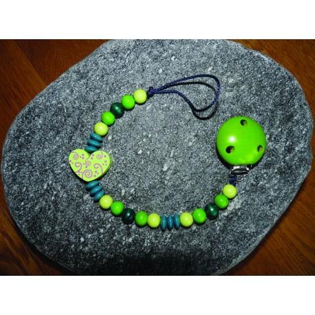 """Geschenkset: Nuggikette grün mit Mini-Karte """"Du bist geliebt"""" und Geschenksverpackung"""